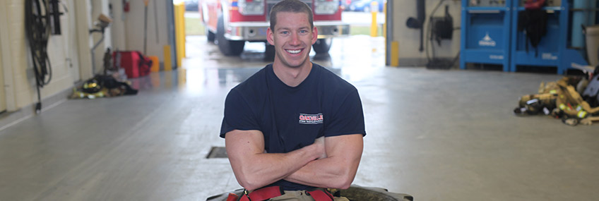 Oakville Firefighter Ian Van Reenen recently set a new world record in the combat challenge's Individual relay at the World Firefighter Combat Challenge.