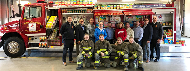 NOVA Chemicals Gifts Lambton College a Fire Truck, Fills It With Food Donations