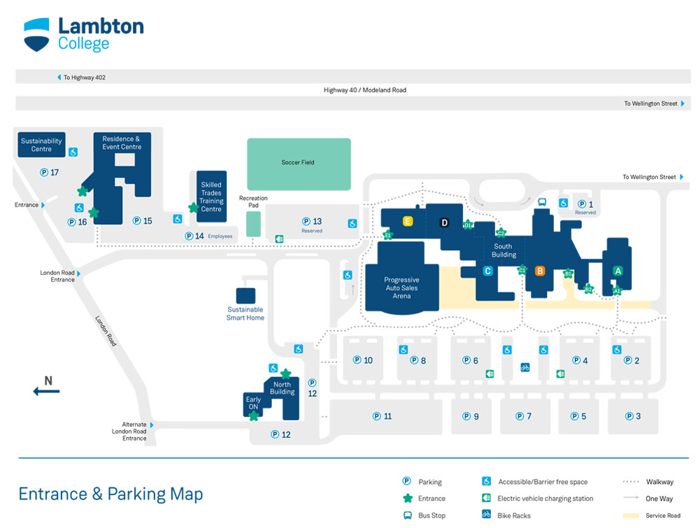 Lambton College Parking Map