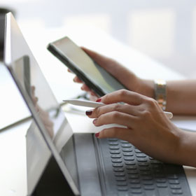 Women using tablet for online learning